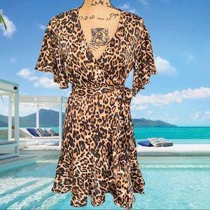 BB Dakota cheetah print satin wrap dress